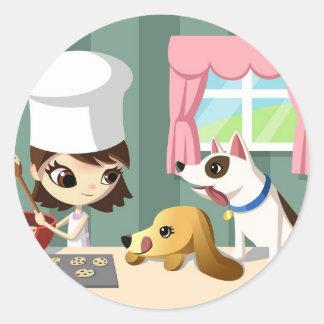 Maddi y los perritos hambrientos pegatina redonda