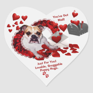 Maddie Bulldog You've Got Mail Revised 2nd Version Heart Sticker