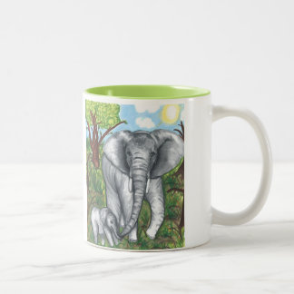 Maddie's Elephants Mug 11oz (White/Green)
