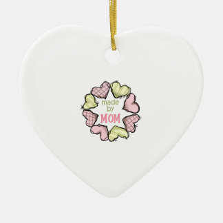 MADE BY MOM Double-Sided HEART CERAMIC CHRISTMAS ORNAMENT