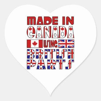 Made Canada British Parts Heart Sticker
