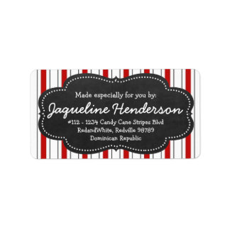 Made for you by  Personalized Red stripes Labels