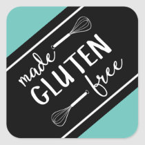 Made Gluten Free Bakery Whisk Green & Black Square Sticker