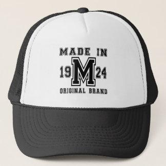 MADE IN 1924 ORIGINAL BRAND BIRTHDAY DESIGNS TRUCKER HAT