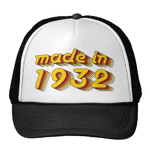 Made in 1932 (Yellow&Red) Hats