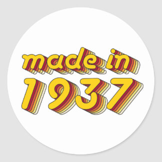 Made in 1937 (Yellow&Red) Classic Round Sticker