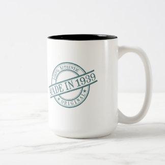 Made in 1939 Circular Stamp Style Logo Two-Tone Coffee Mug