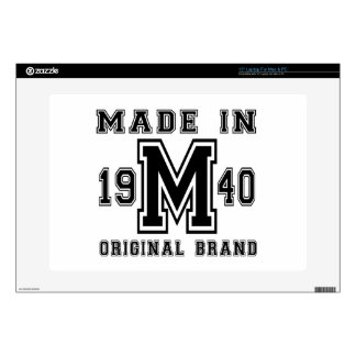 """MADE IN 1940 ORIGINAL BRAND BIRTHDAY DESIGNS DECAL FOR 15"""" LAPTOP"""
