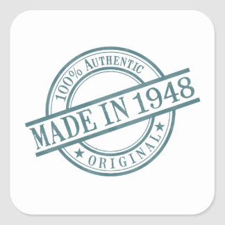 Made in 1948 Round Stamp Style Logo Square Sticker