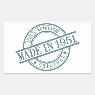 Made in 1951 Round Stamp Style Logo Rectangular Sticker