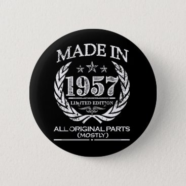 Beach Themed Made in 1957 funny 60th birthday button