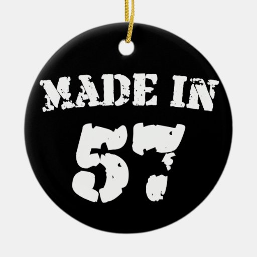 Made In 1957 Double-Sided Ceramic Round Christmas Ornament