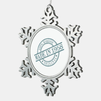 Made in 1958 Circular Rubber Stamp Style Logo Snowflake Pewter Christmas Ornament