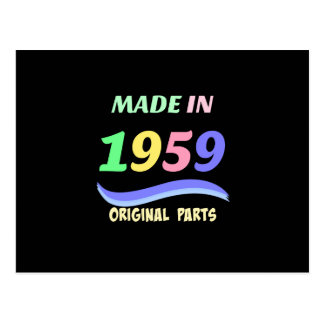 Made in 1959, colorful text design postcard