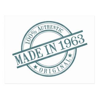 Made in 1963 Circular Stamp Style Logo Postcard