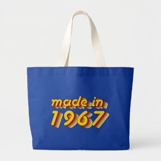 Made in 1967 (Yellow&Red) Large Tote Bag