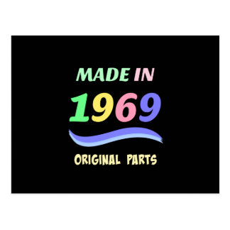 Made in 1969, colorful text design postcard