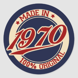 Made In 1970 Classic Round Sticker