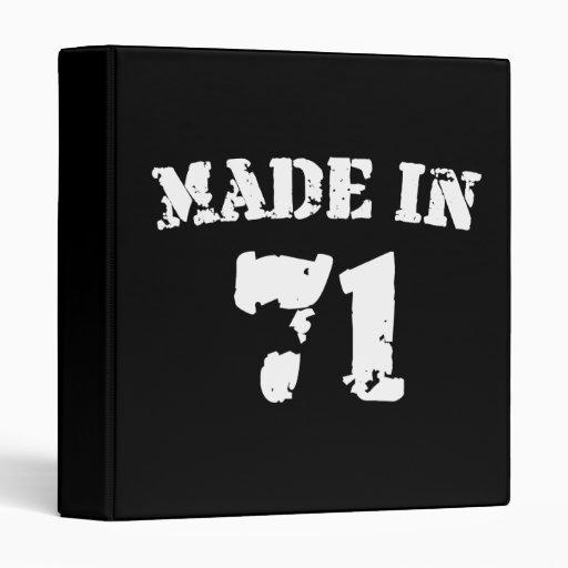 Made In 1971 3 Ring Binder