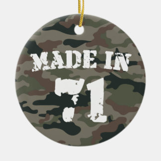 Made In 1971 Army Style Birthday Year Ceramic Ornament