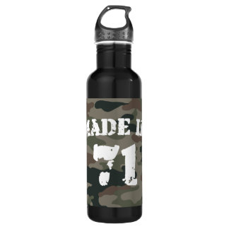 Made In 1971 Army Style Birthday Year Stainless Steel Water Bottle