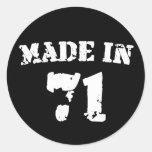 Made In 1971 Classic Round Sticker