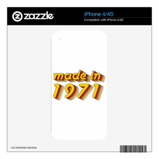 Made in 1971 (Yellow&Red) Skins For iPhone 4S