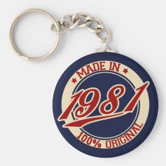 Made In 1981 Basic Round Button Keychain