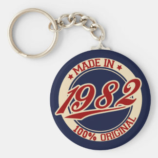 Made In 1982 Basic Round Button Keychain