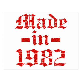 Made in 1982 designs postcard