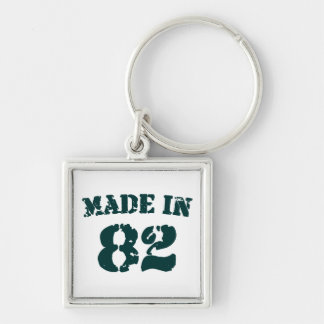 Made In 1982 Silver-Colored Square Keychain