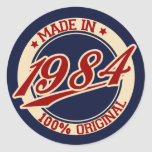 Made In 1984 Round Stickers