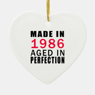 Made In 1986 Aged In Perfection Double-Sided Heart Ceramic Christmas Ornament
