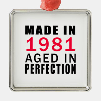 Made In 1986 Aged In Perfection Square Metal Christmas Ornament