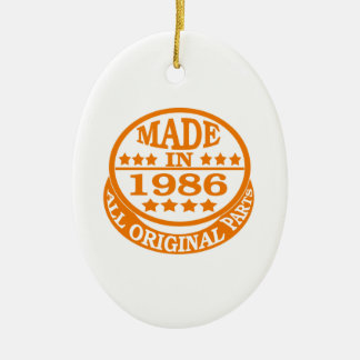 Made in 1986 all original parts Double-Sided oval ceramic christmas ornament
