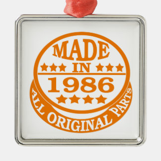 Made in 1986 all original parts square metal christmas ornament