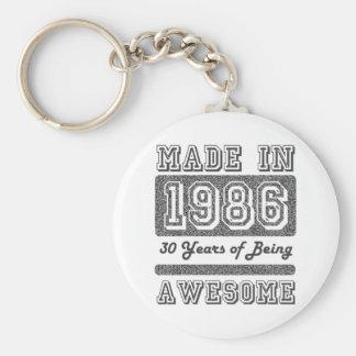 Made in 1986 basic round button keychain