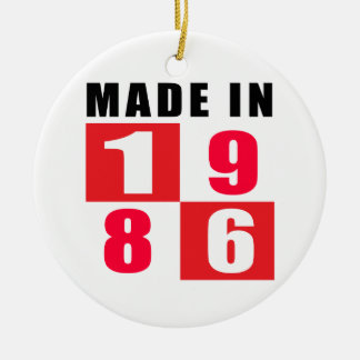 Made In 1986 Birthday Designs Double-Sided Ceramic Round Christmas Ornament