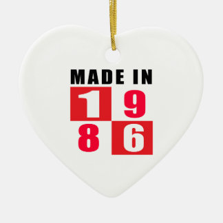 Made In 1986 Birthday Designs Double-Sided Heart Ceramic Christmas Ornament