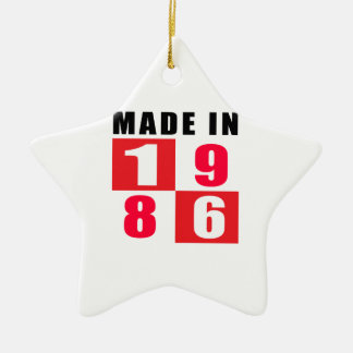 Made In 1986 Birthday Designs Double-Sided Star Ceramic Christmas Ornament