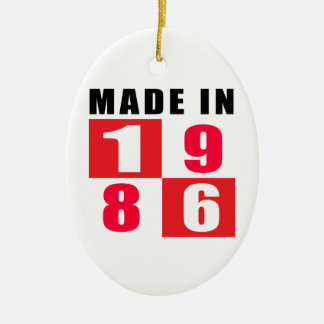 Made In 1986 Birthday Designs Double-Sided Oval Ceramic Christmas Ornament