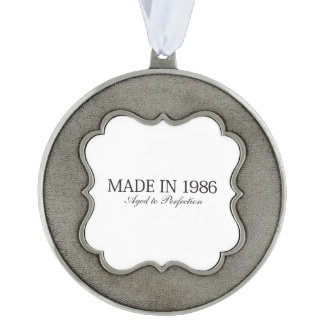 Made in 1986 scalloped pewter christmas ornament