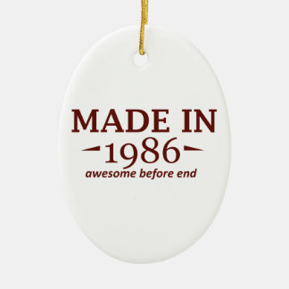 Made in 1986 Double-Sided oval ceramic christmas ornament