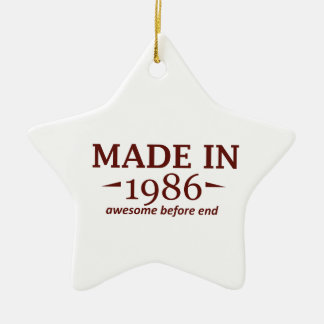 Made in 1986 Double-Sided star ceramic christmas ornament