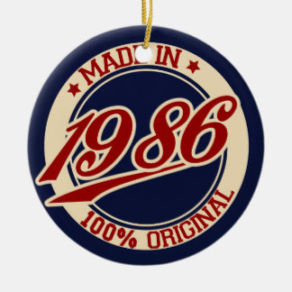 Made In 1986 Double-Sided Ceramic Round Christmas Ornament