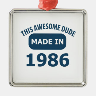 Made in 1986 square metal christmas ornament