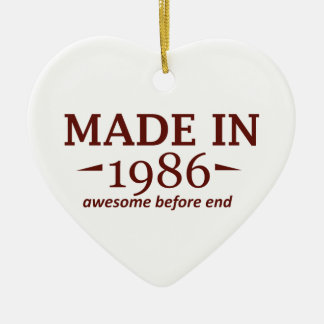 Made in 1986 Double-Sided heart ceramic christmas ornament