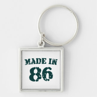 Made In 1986 Silver-Colored Square Keychain