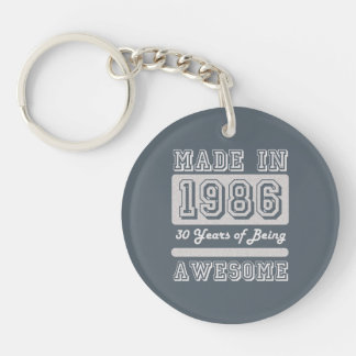 Made in 1986 Single-Sided round acrylic keychain