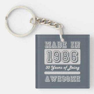 Made in 1986 Single-Sided square acrylic keychain